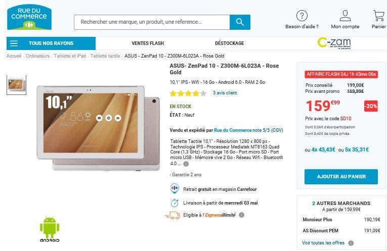 Bon plan tablette asus zenpad 10 pas ch re moins de - Tablette 10 pouces moins de 200 ...