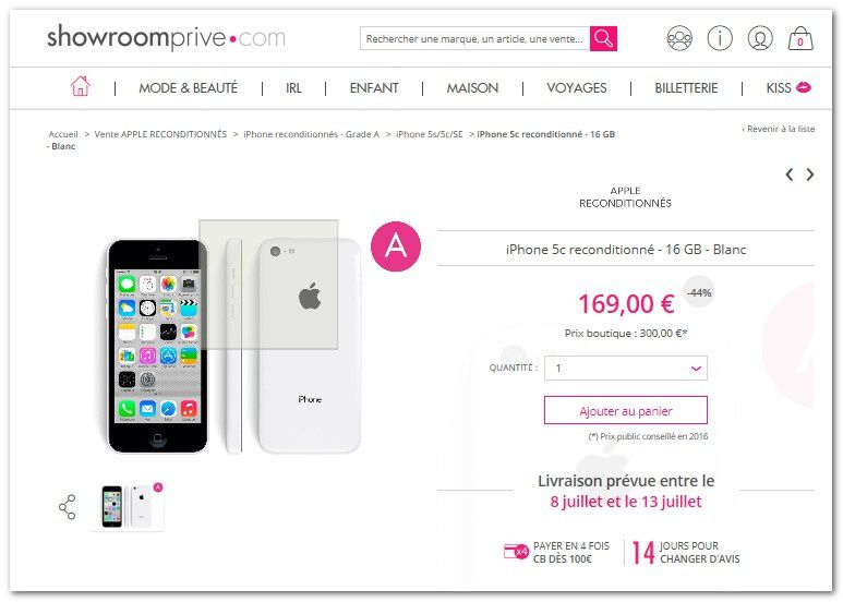 bon plan vente priv e iphone 5c reconditionn 169 euros le blog bon plan mobile bon plan. Black Bedroom Furniture Sets. Home Design Ideas