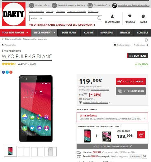 smartphone wiko pulp 4g blanc en promo chez darty le blog bon plan mobile bon plan. Black Bedroom Furniture Sets. Home Design Ideas