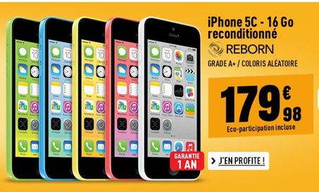 offre sp ciale iphone 5c reconditionn 179 euros le blog bon plan mobile bon plan. Black Bedroom Furniture Sets. Home Design Ideas