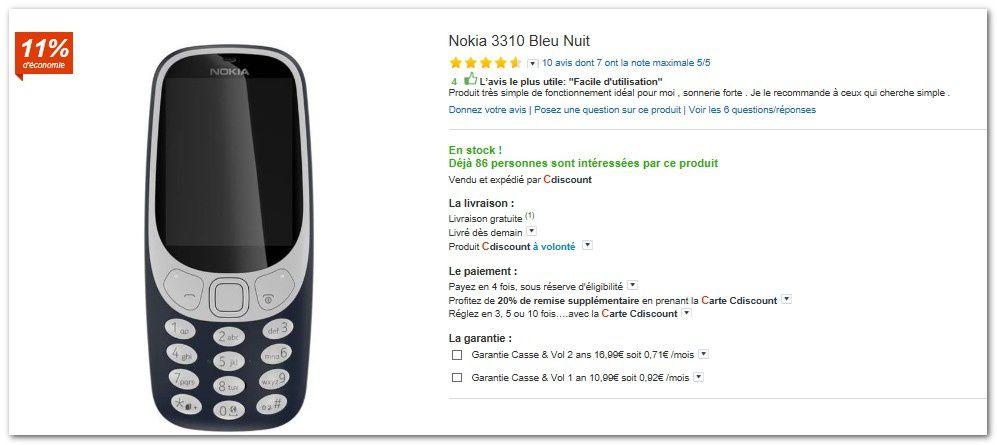 Carte Cdiscount Utile.Nouveau Mobile Nokia 3310 En Promotion Chez Cdiscount Le Blog Bon