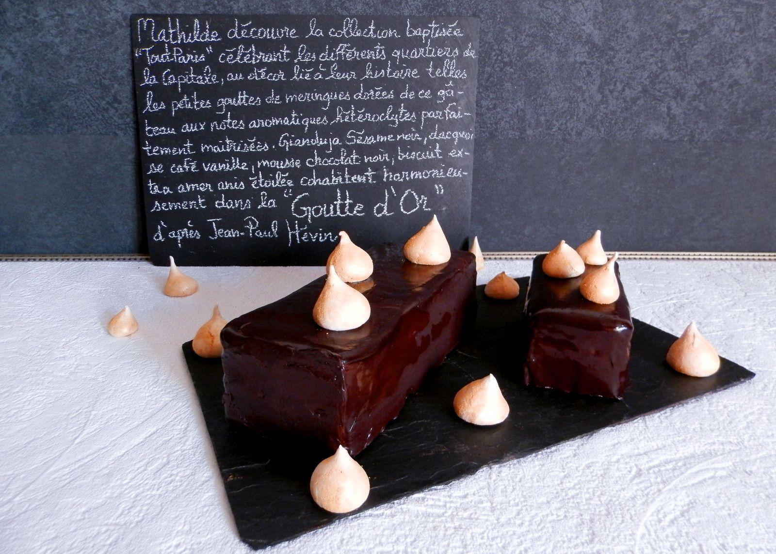 Goutte D'Or d'après Jean-Paul Hévin : Duja sésame noir, dacquoise noisette café imbibé d'un sirop vanille, mousse chocolat noir, biscuit extra-amer anis étoilé