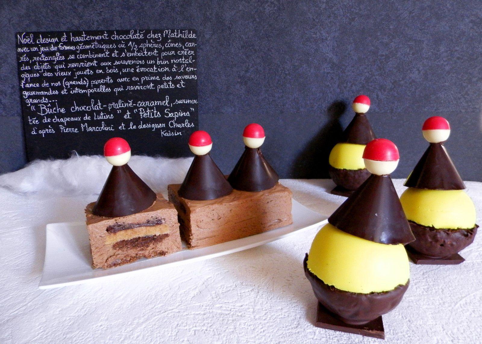 Bûche chocolat, praliné et caramel d'après Pierre Marcolini