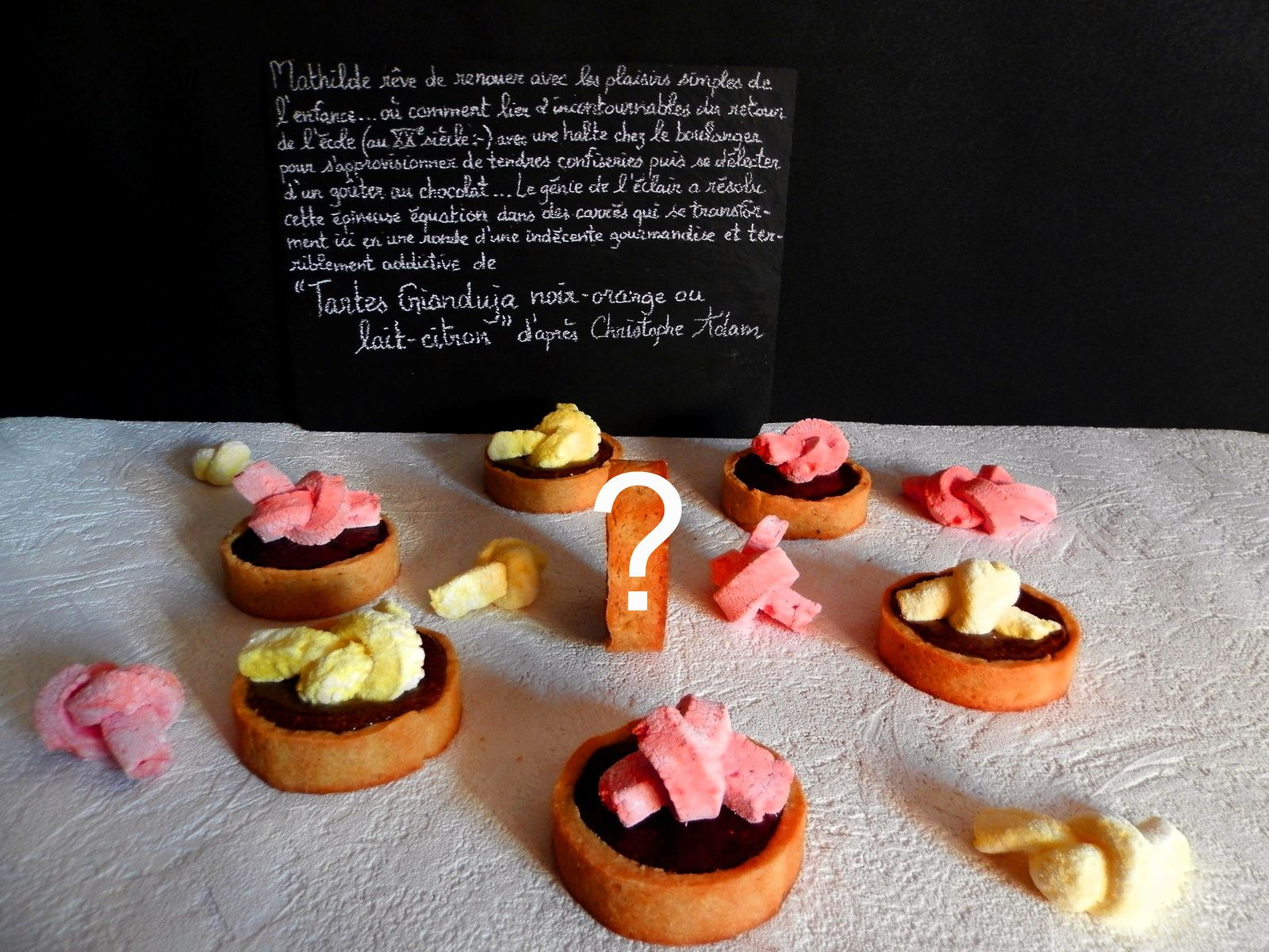 Tartes Gianduja noir-orange ou lait-citron d'après Christophe Adam