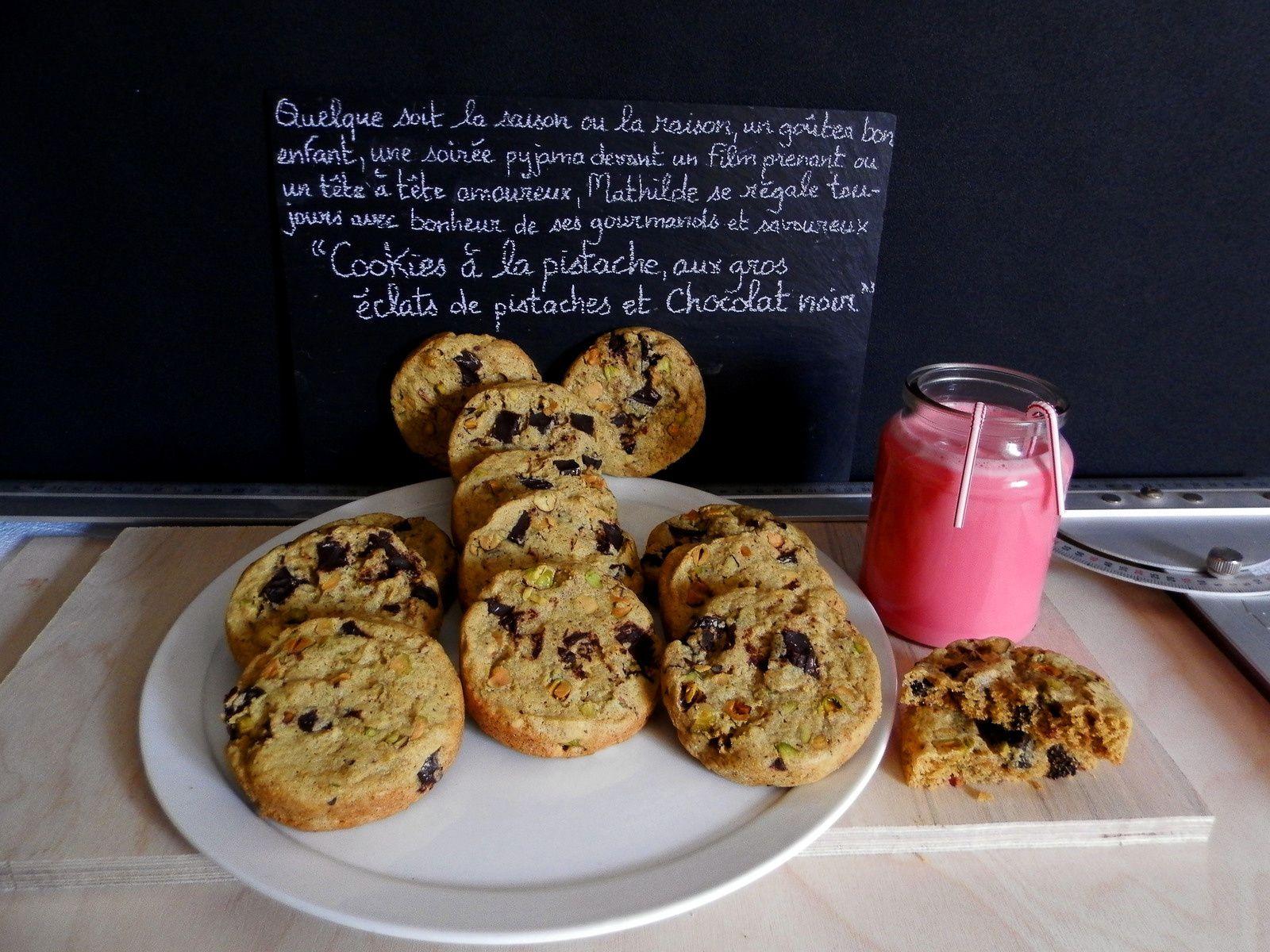 Cookies à la pistache aux gros éclats de pistaches et chocolat noir version Mathilde