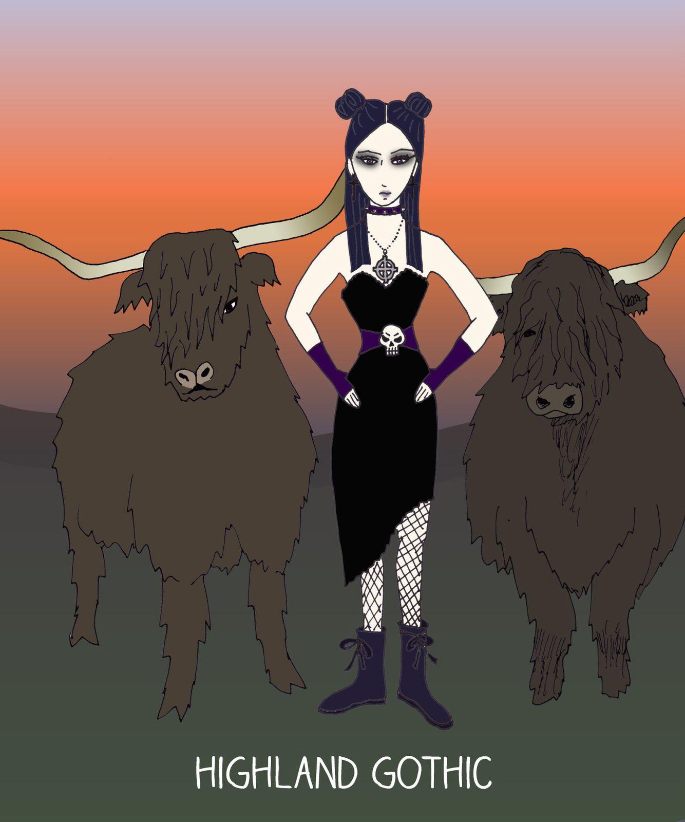 La Highland Gothic fait la tournée de ses bêtes à l'aube, car la brume encore dense lui permet de communier plus intensément avec son troupeau.