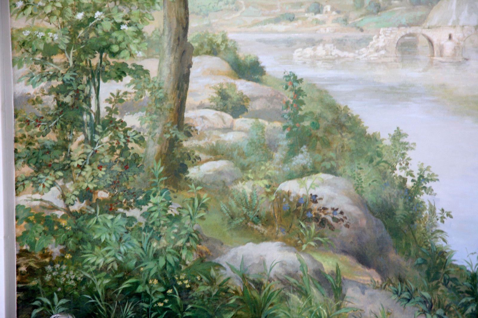 Panoramique paysage avec ruine romaine