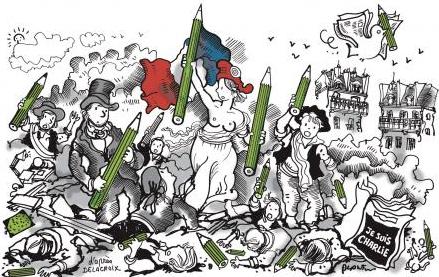 Dessin de Plantu, pour le journal Le Monde: Appel à la Marche Républicaine du 11 janvier 2015