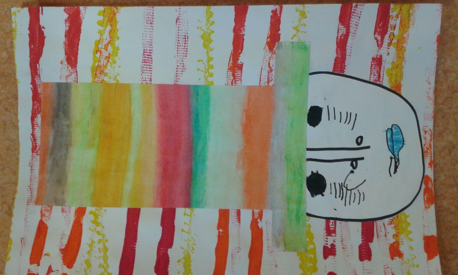Le fond est réalisé en faisant rouler une petite voiture sur la feuille, dans le sens horizontal ( les roues sont trempées dans la peinture) . Le chapeau est découpé dans du papier canson blanc, colorié à la craie grasse, puis estompé avec un coton imbibé d'huile. Le visage est dessiné par chaque enfant, à partir du dessin dirigé.