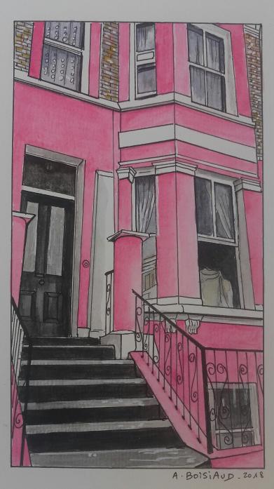 Dessin et aquarelle d'une belle maison rose de Portobello à Londres.