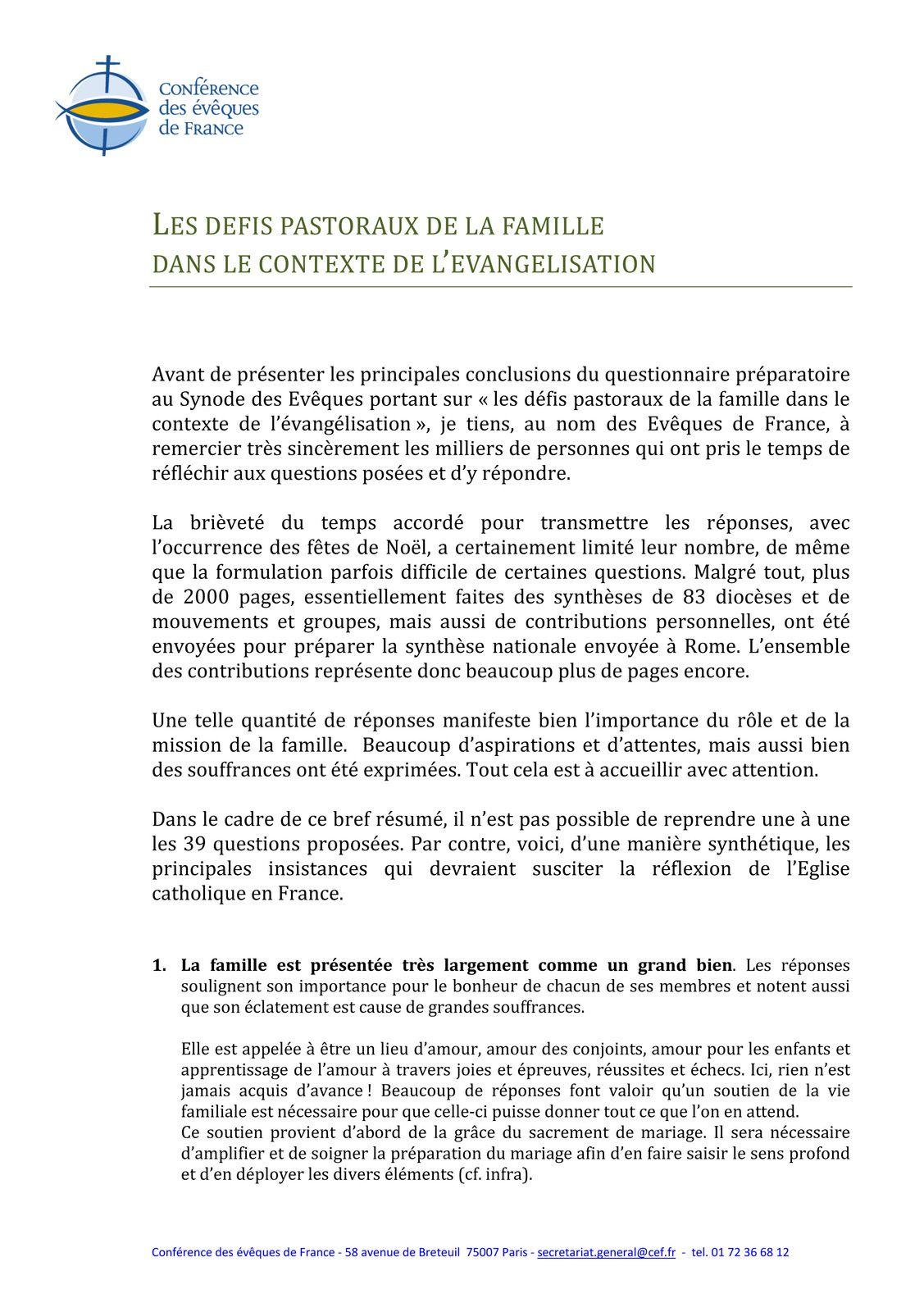 LES DEFITS PASTORAUX DE LA FAMILLE