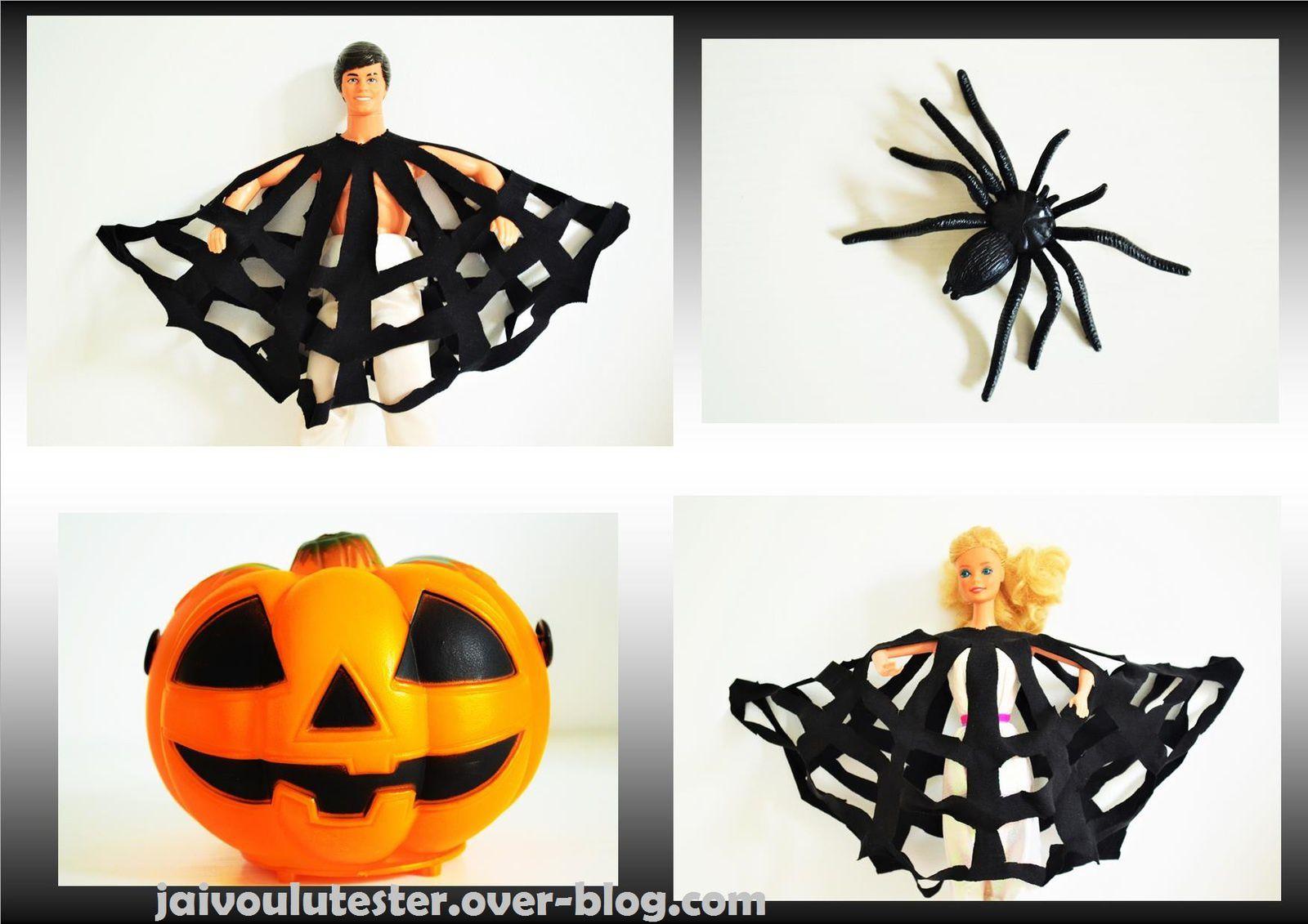 ... toile d'araignée d'Halloween: déguisement ou déco, même technique facile et sans couture