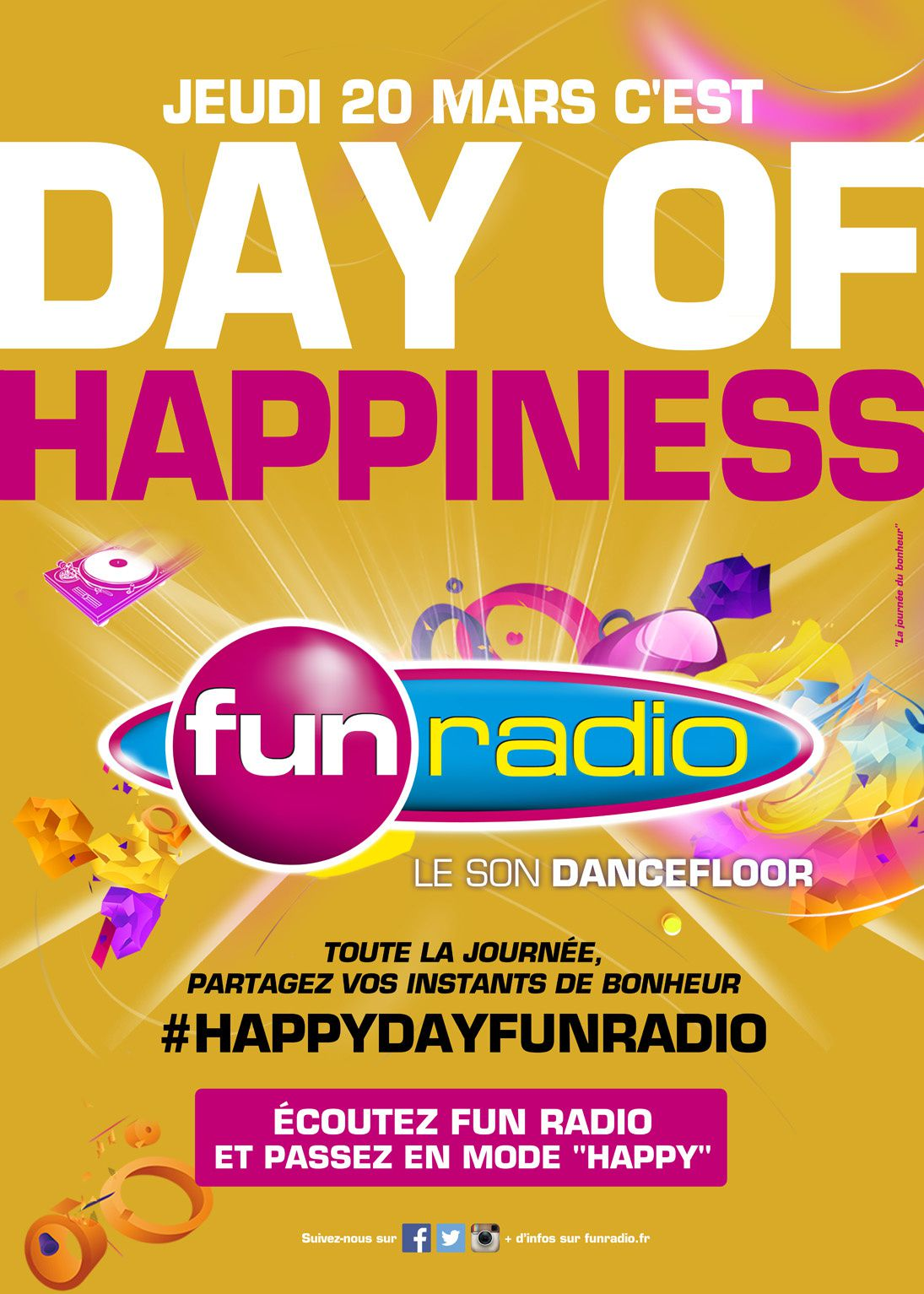 Fun radio fête la Journée Internationale du Bonheur #HAPPYDAYFUNRADIO