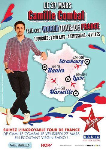 Le 27 mars, Camille Combal fait son World Tour de France avec 4 émissions dans 4 villes différentes (vidéo)