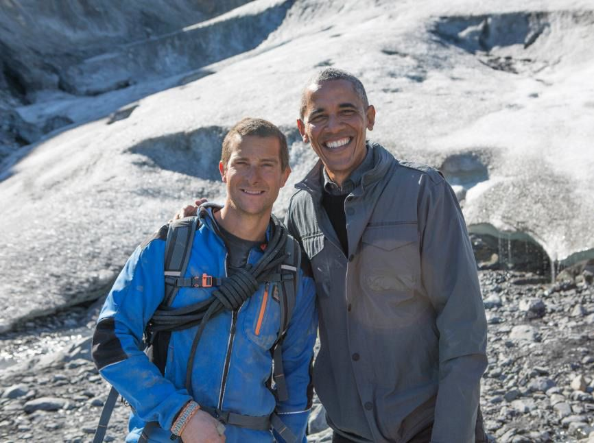 Bear Grylls et Barack Obama (Crédit photo : Delbert Shoopman / NBC)