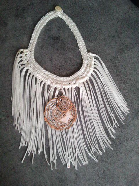 Toujours dans la récup. : ce ras de cou a été réalisé avec une bobine de nylon récupéré dans un atelier, le bouton qui ferme ce collier provient d'un vêtement et le pendentif a été acheté sur un salon de créateur....