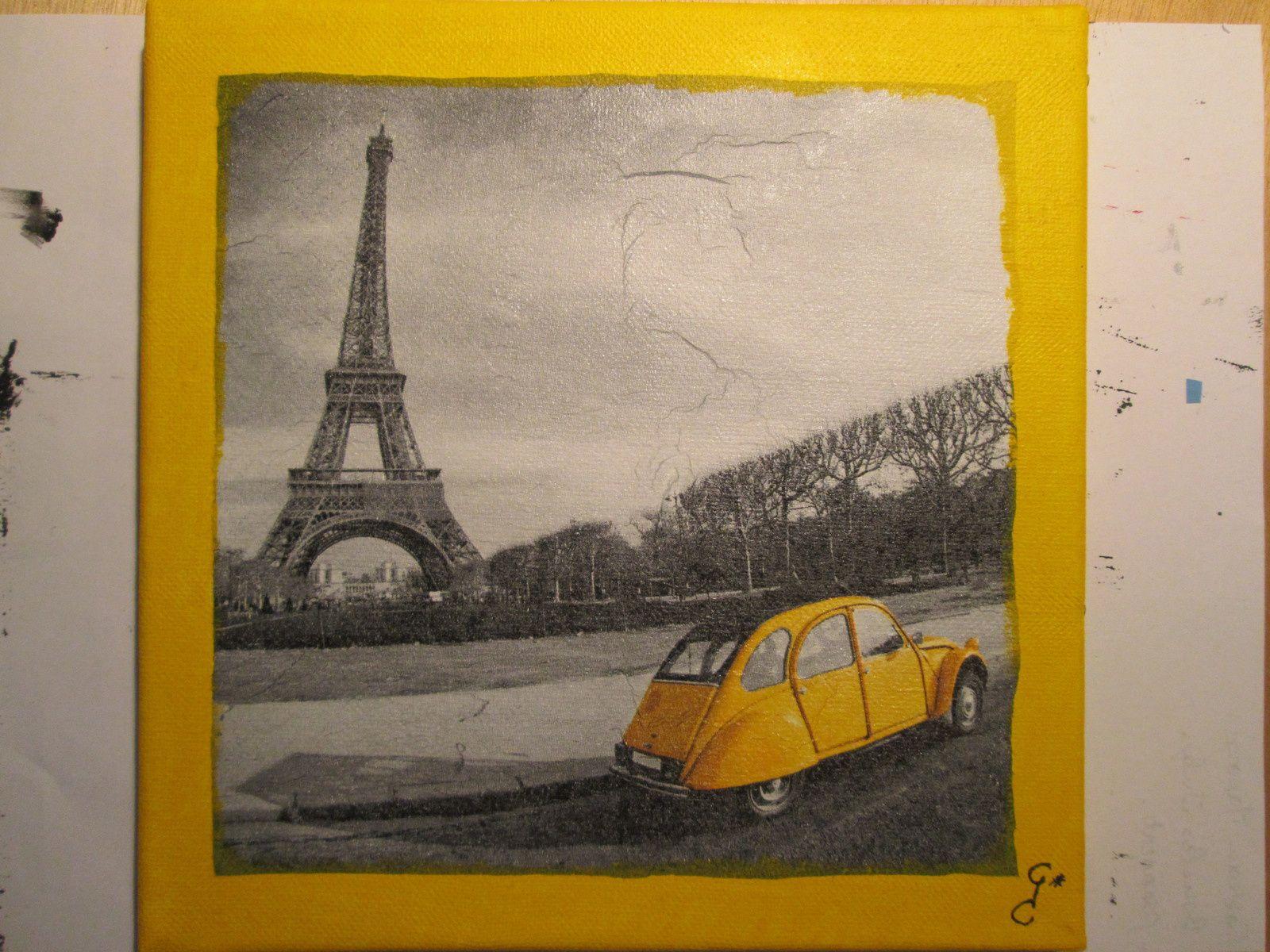 Tableau minimaliste paris 2 cv jaune gao cr ation for Tableau minimaliste