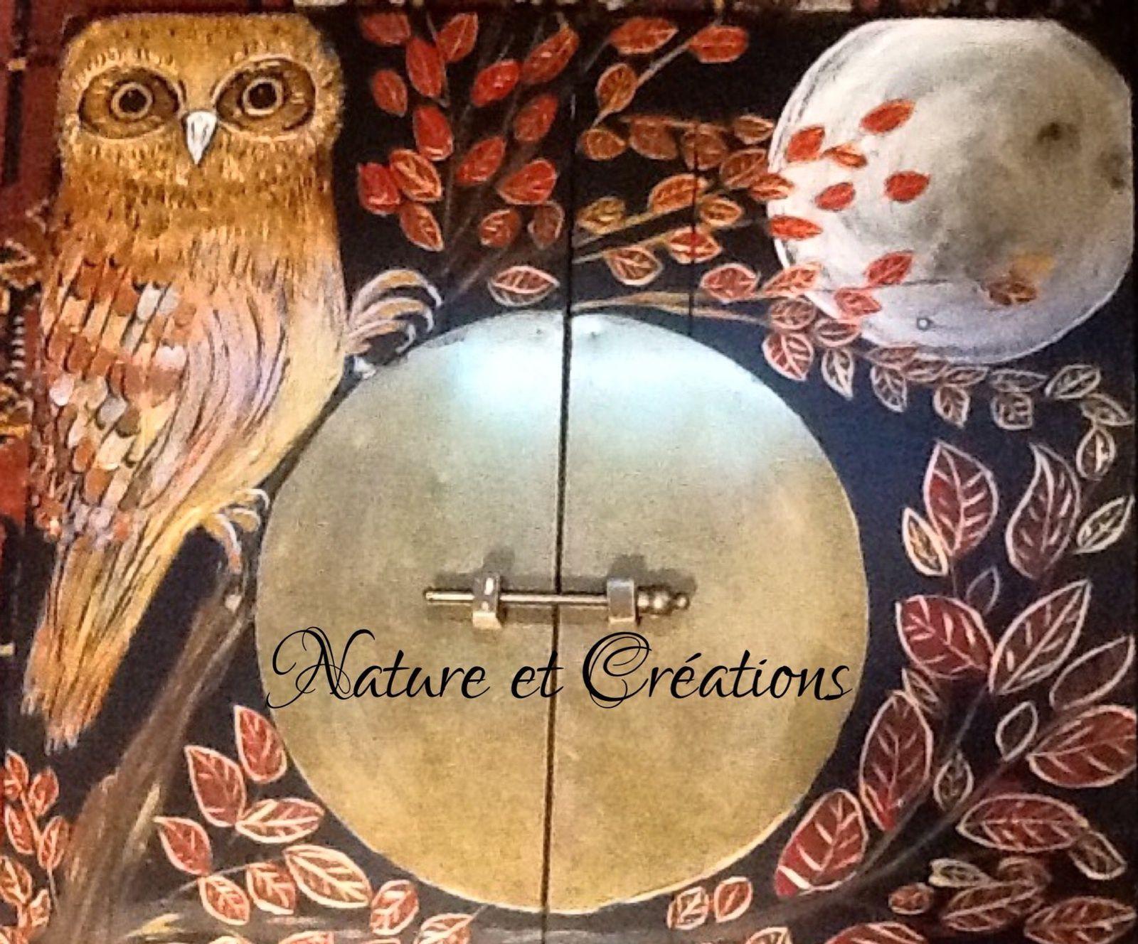 Meuble de rangement peinture d'oiseau acrylique