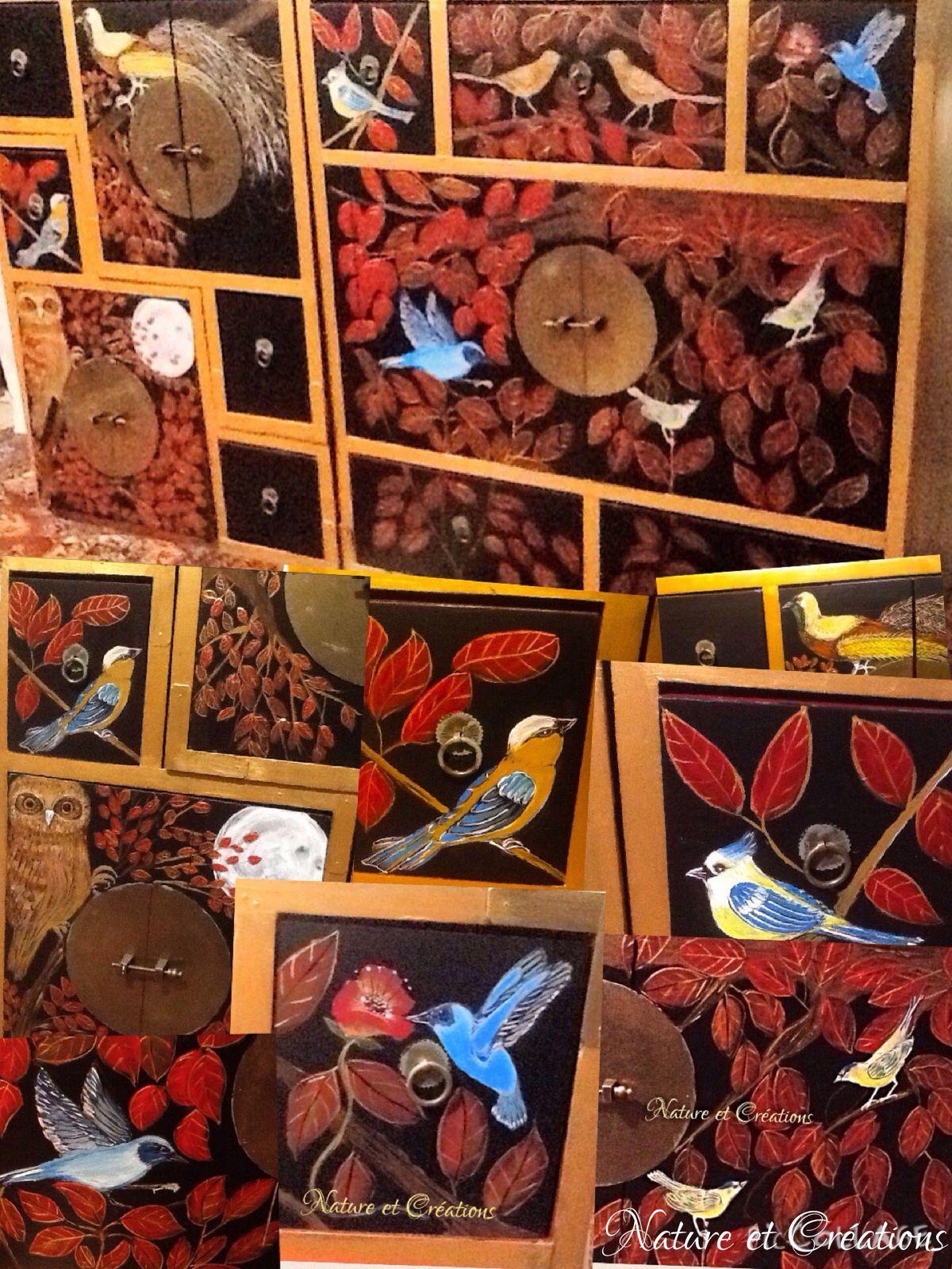 Meuble peint main motifs Oiseaux