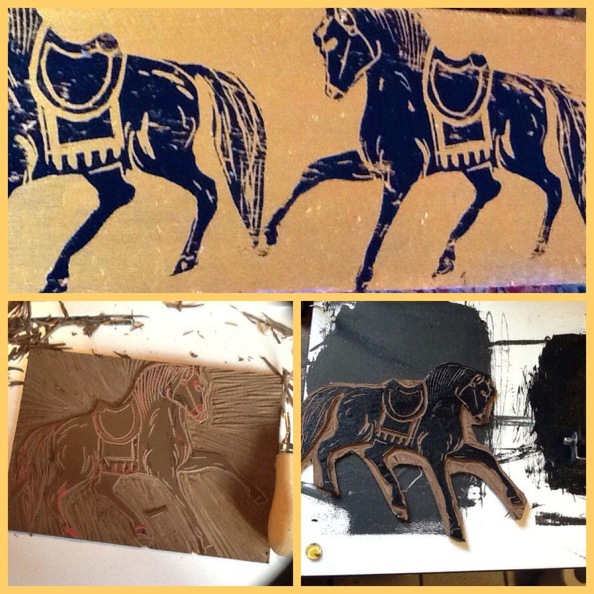Linogravure  chevaux