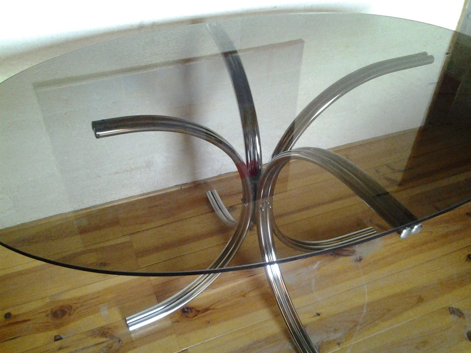 table design vintage ann es 70 chrome et verre ovale