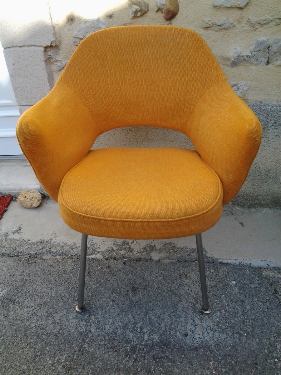 fauteuil conf rence eero saarinen knoll orange vente de mobilier vintage design scandinave. Black Bedroom Furniture Sets. Home Design Ideas