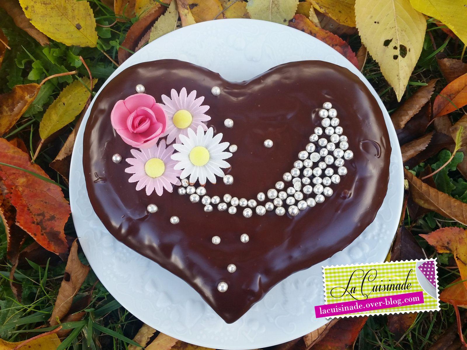 Gâteau coeur chocolat et fruits rouges