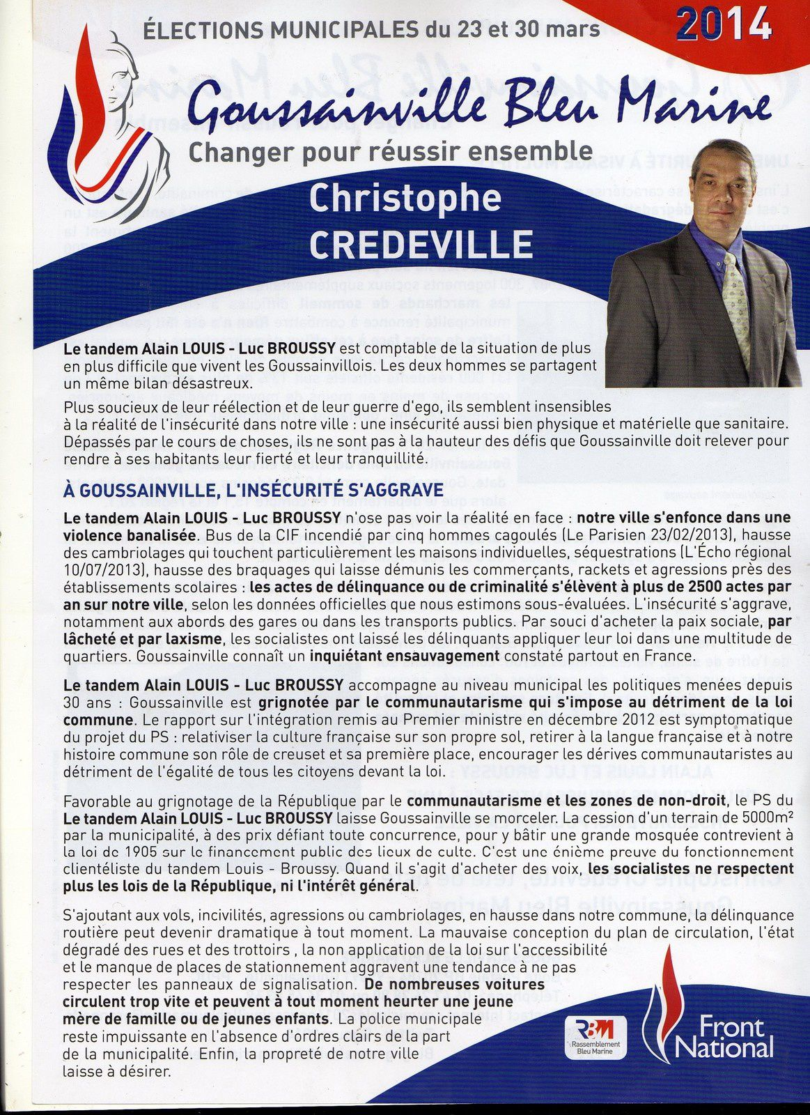 lections municipales 23 et 30 mars 2014 goussainville bleu marine changer. Black Bedroom Furniture Sets. Home Design Ideas