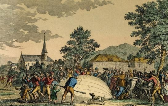 Gonesse, 1783. La chute d'un ballon gonflé à l'hydrogène provoque un émoi important chez les témoins de la scène, peu habitués aux engins volants. (Collection particulière Maurice Bonnard.)