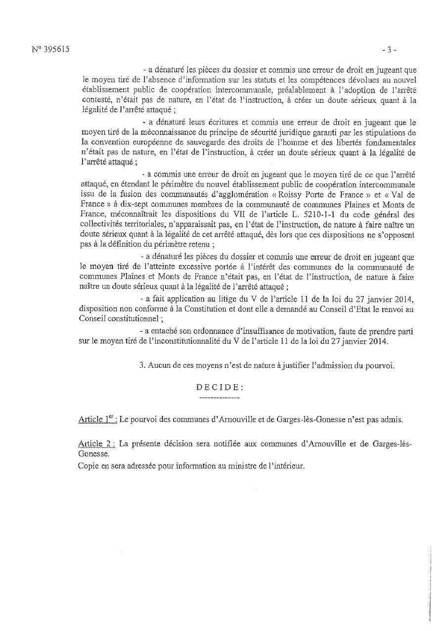 Le Conseil d'Etat a rejeté les derniers recours. La composition du Conseil Roissy Pays de France