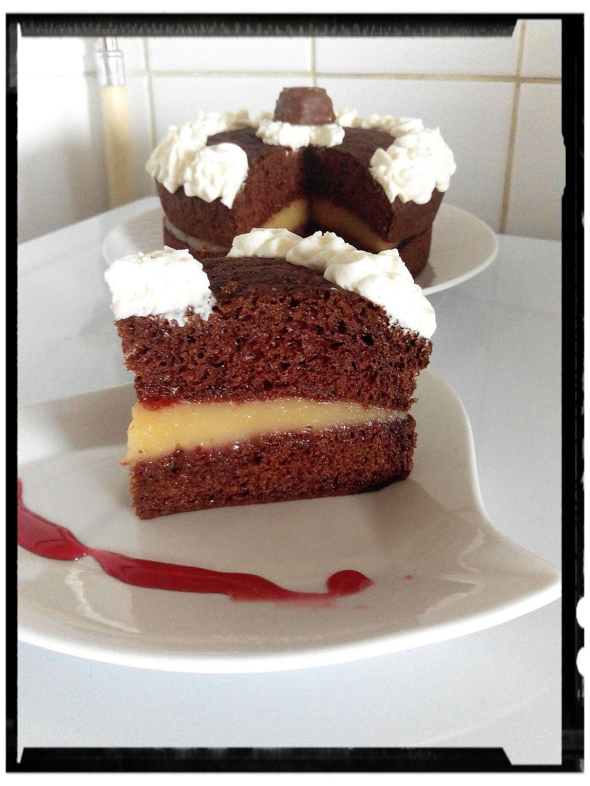 Gâteau truffé framboise-apple curd