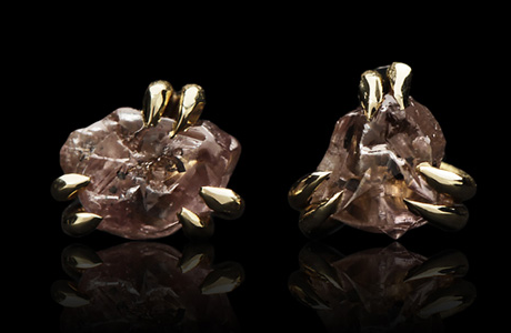 Roughdiamonds.dk-Boucles d'oreilles, or jaune, diamants rose bruts © Roughdiamonds.dk