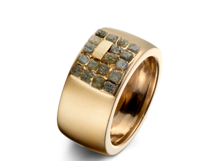 Patrice Fabre-Bague Mosaique, or jaune, diaments bruts © Patrice Fabre