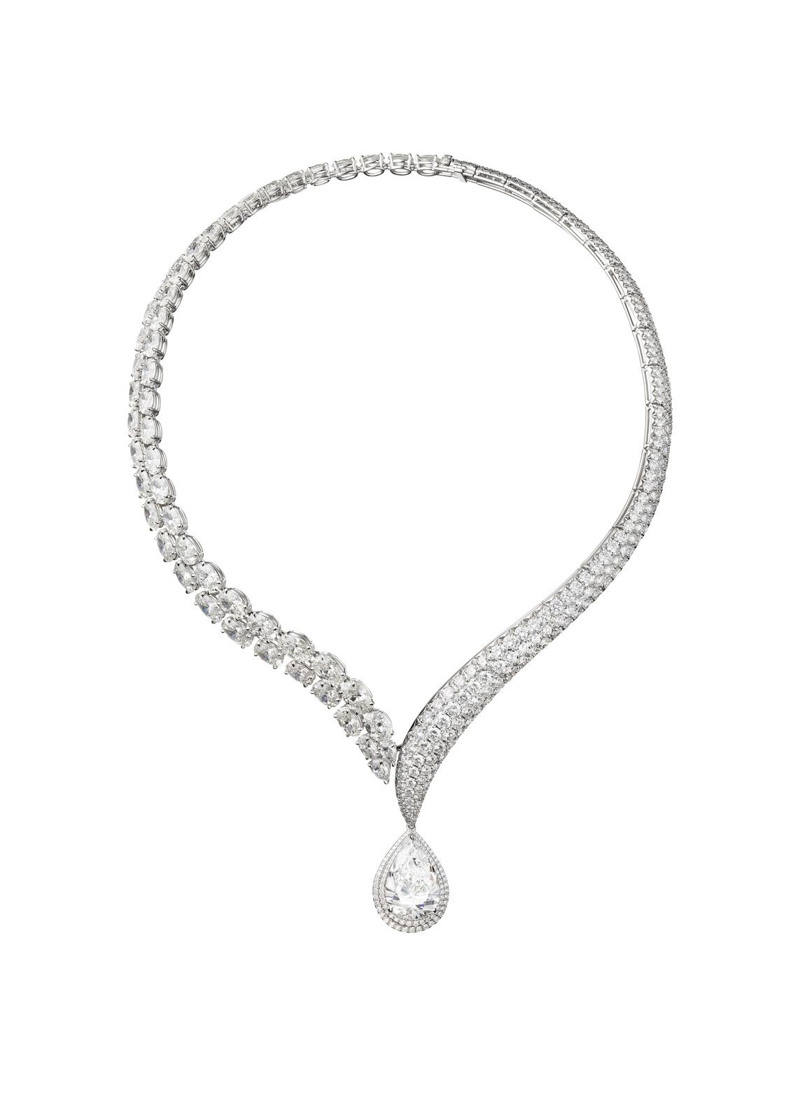 "Collier ""Rivière sans retour"", or blanc, diamants © Adler"