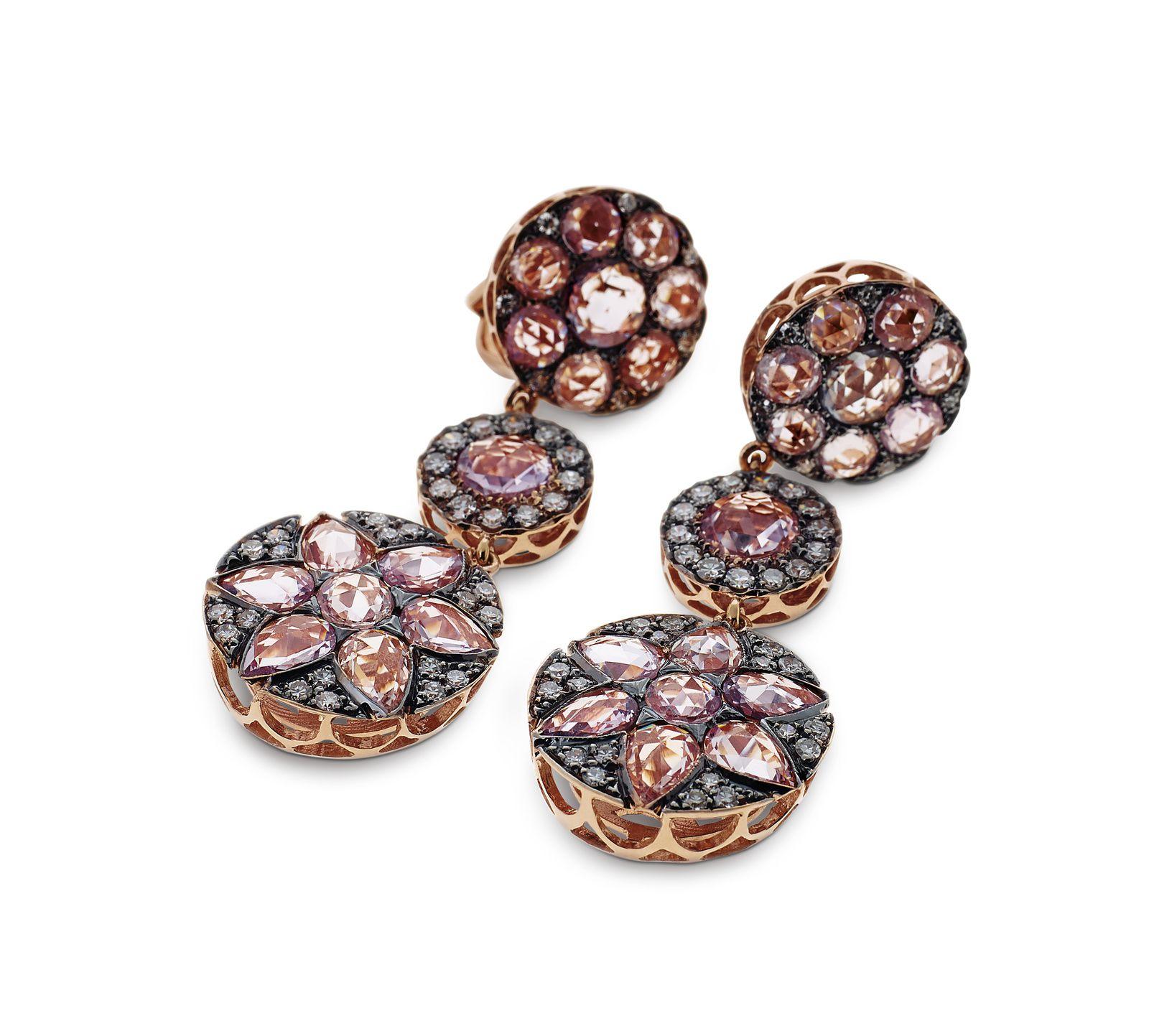 Boucles d'oreilles Beirut en or rose et diamants © Selim Mouzannar