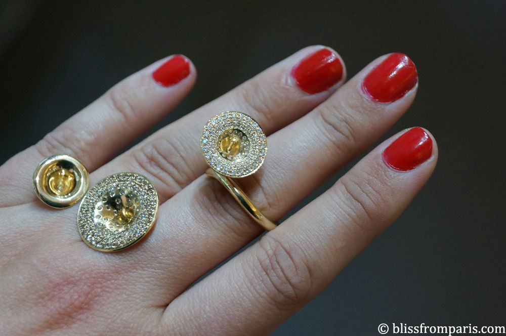 Jessica Poole-Bague (Duet et Diamond Parade ) en or jaune et diamants