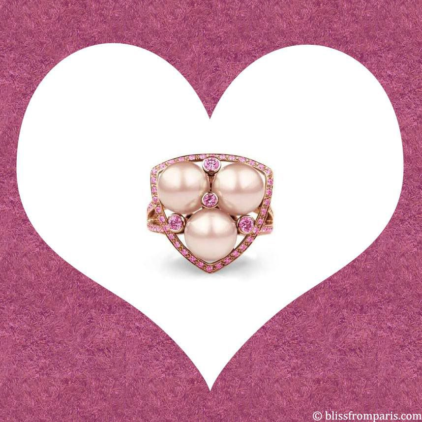 Bague Perlescente, Demars, or rose, perle d'eau douce rose, saphirs roses