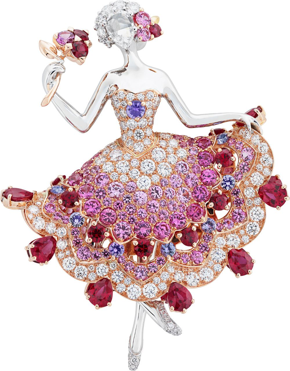 Van Cleef & Arpels, Ballerina Iolanta clip Represented by a rose-cut diamond the ballerina's face is enhanced by a hair ornament set with a ruby, diamonds and pink sapphires. Round and pear-shaped rubies along with a mauve and pink sapphire gradation adorn the pink gold tutu Paris, 2015 © Van Cleef & Arpels