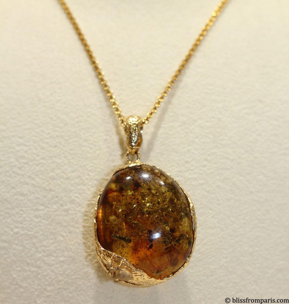Nac Amber, pendentif, or jaune, ambre avec 20 fourmis emprisonnées