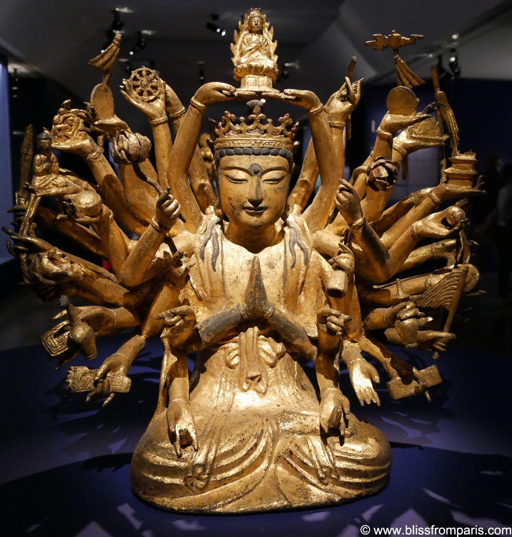 Avalokiteshvara à mille bras  Corée, Kyongsangbuk-do, Songju, Temple de Tongbang-Epoque Koryo (918-1392), 10e ou 11e siècle Fonte de fer dorée