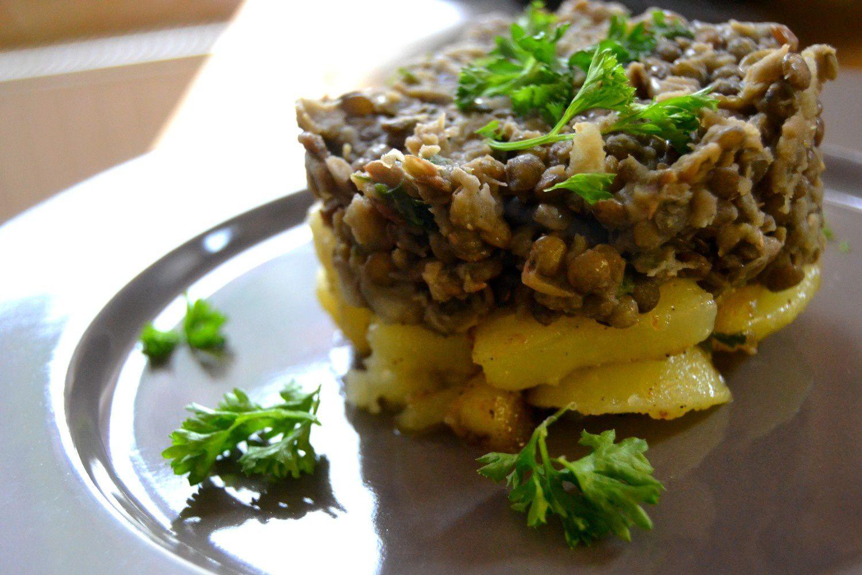Pommes de terre sautées et trio de lentilles au vinaigre de noix