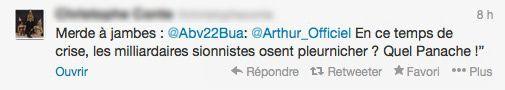 TW01: Twitter animateur TV Arthur suite à un post sur la quenelle de Nicolas Anelka