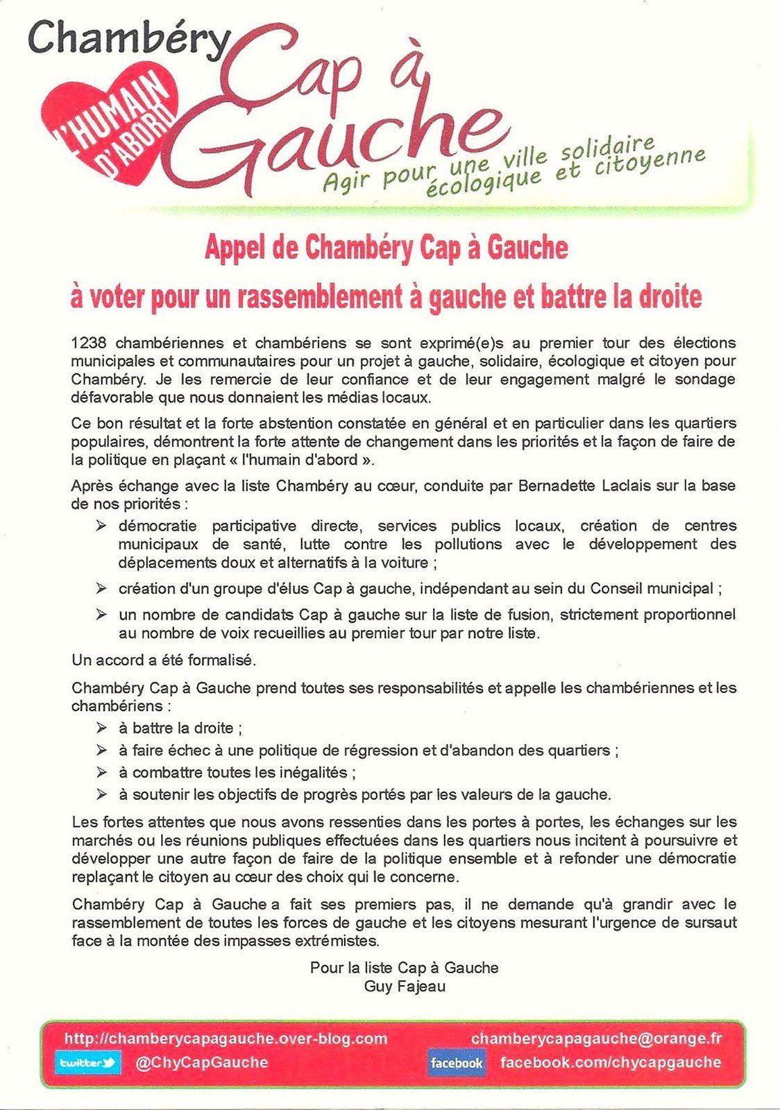 Déclaration de Guy Fajeau au nom de Chambéry Cap à Gauche :
