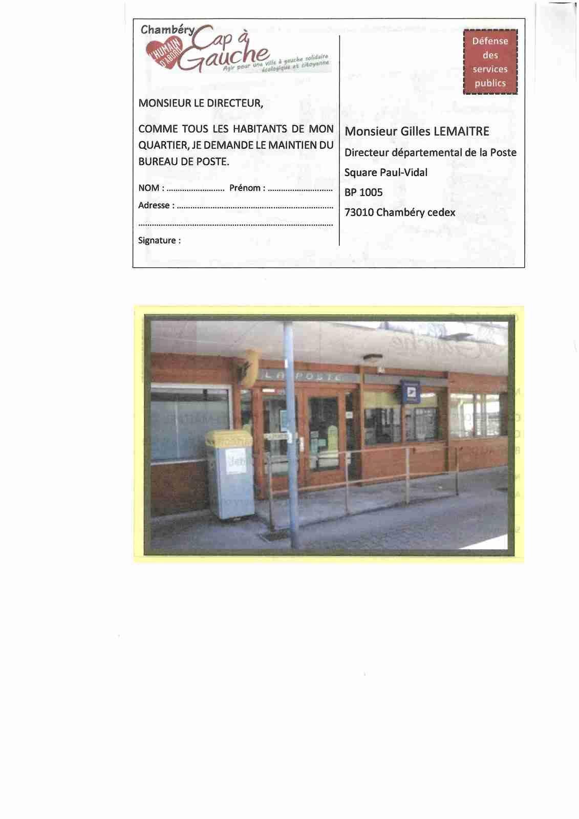 Non la fermeture de la poste du biollay cap gauche cap a gauche - Bureau de poste chambery ...