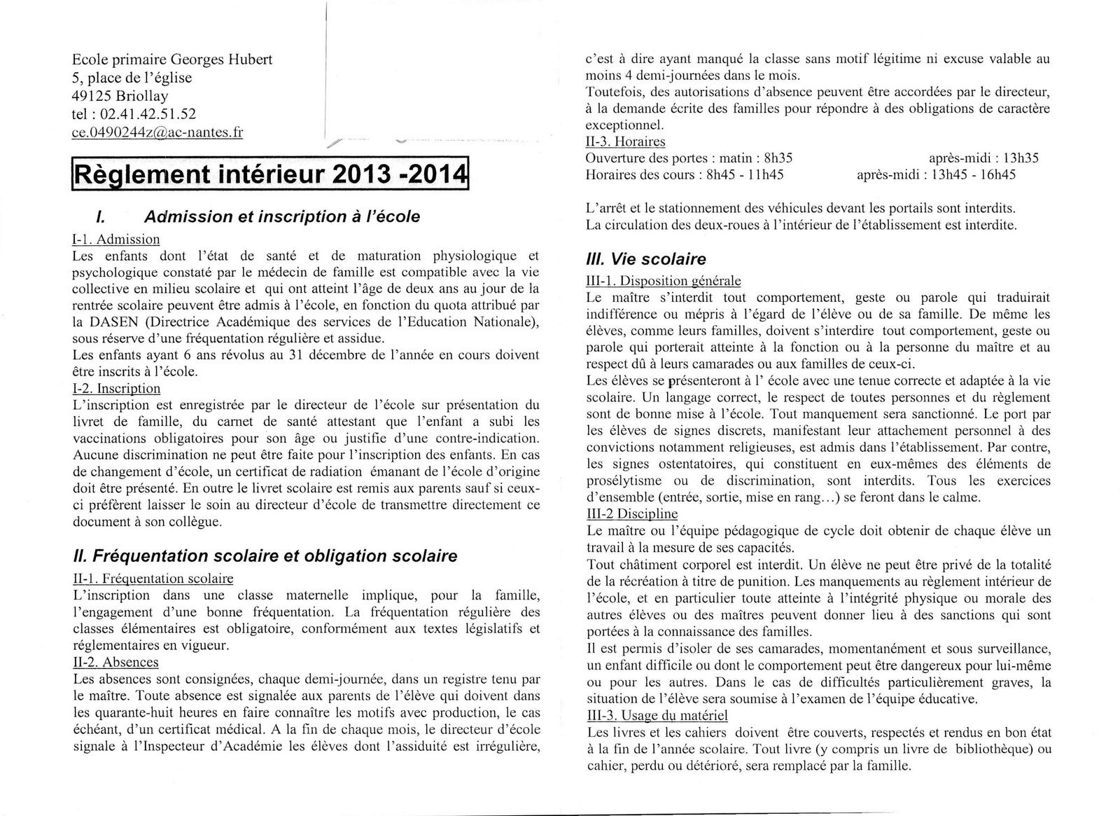 R glement int rieur de l 39 cole 2013 2014 parents d for Le reglement interieur