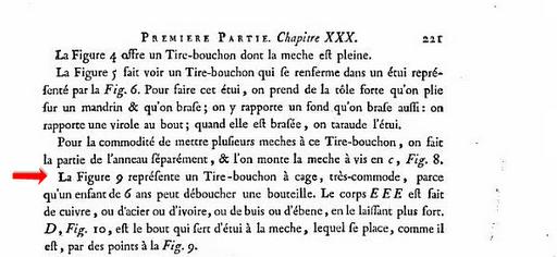 Des tire-bouchons dans un livre de 1771...