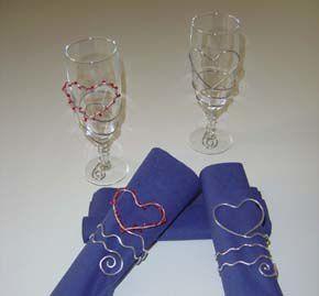 Décoration verre & rond de serviette  en fil d'aluminium  (fête des mères)