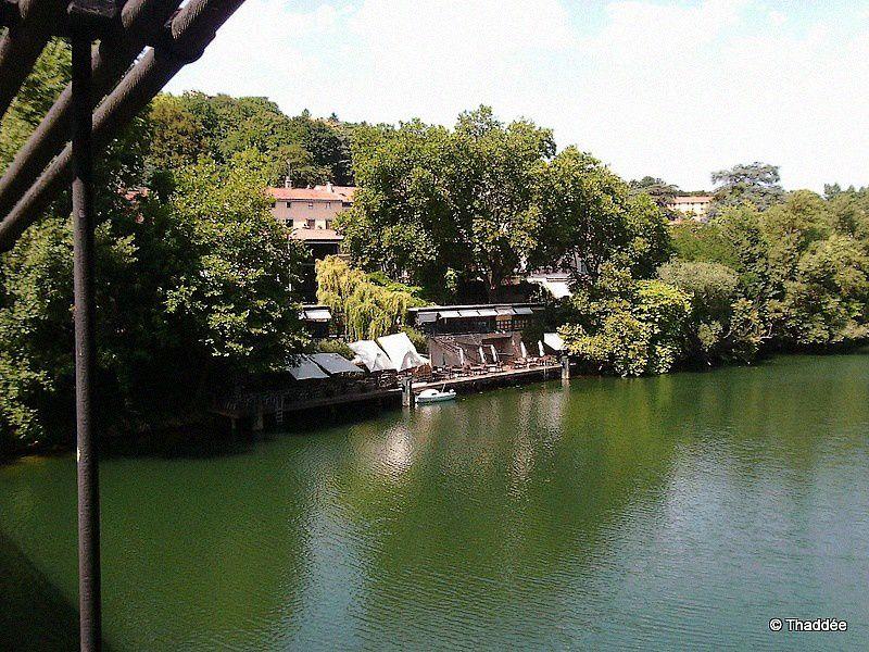 En face de l'île, de petites tavernes alléchantes avec terrasse et ponton pour prendre le frais et profiter d'une vue imprenable sur la Saône. Les bateaux de touristes passent devant.