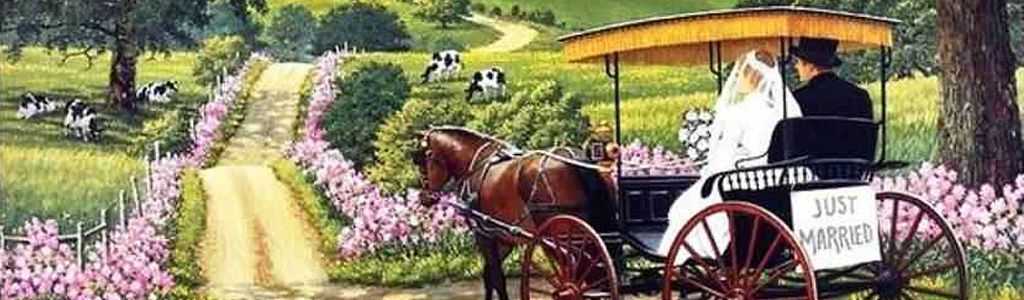 Horse Drawn Wedding Carriage Painting Website Header