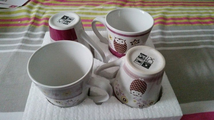 4 Mugs en céramique, Françoise Saget